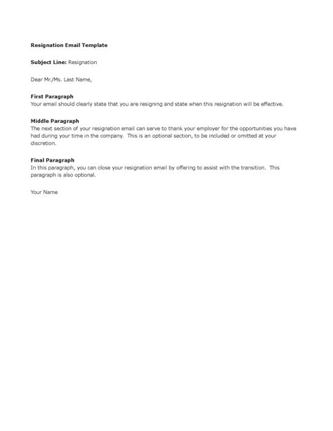 Resignation Letter By Email Template Resignation Email Template Playbestonlinegames