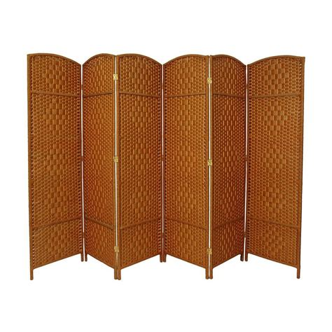 Privacy Screen Room Divider Shop Furniture Weave 6 Panel Beige Wood And Rattan Folding Indoor Privacy