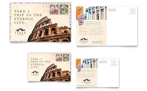 Post Card Template Punlidhrt by Italy Travel Postcard Template Word Publisher