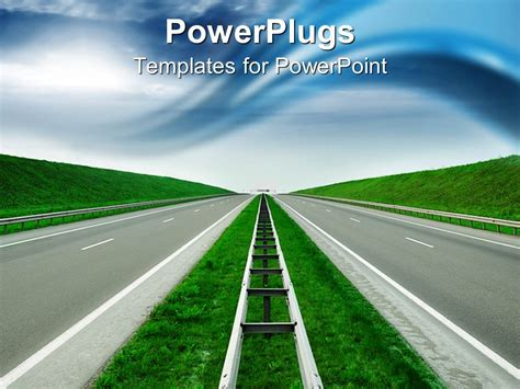 Powerpoint Template Road To Success Blue Sky Green Hills Empty High Way Divider 16307 Road Powerpoint Template