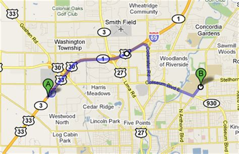 road maps and directions driving directions ipfw