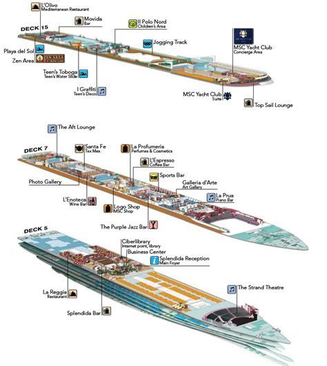 splendida deck plan photo msc splendida cutaway plan decks 5 7 15 msc