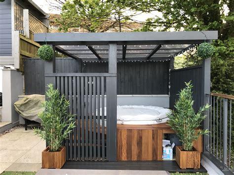 spa pergola ideas modern grey pergola lazy spa tub iroko surround пергола lazy spa tubs