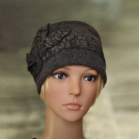 womens winter hats warm felted hat small wool cap by