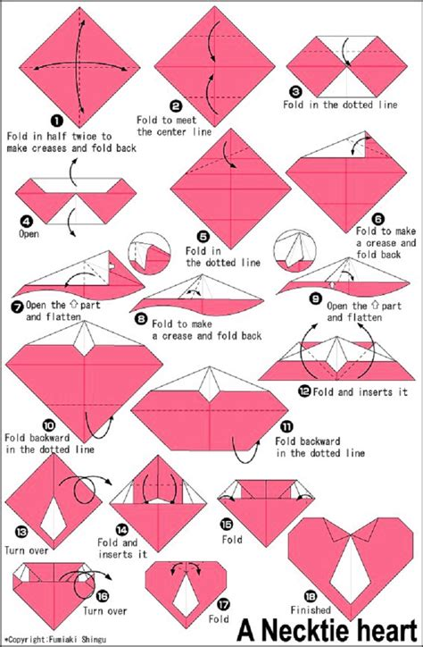 How To Make Origami Hearts - with a necktie