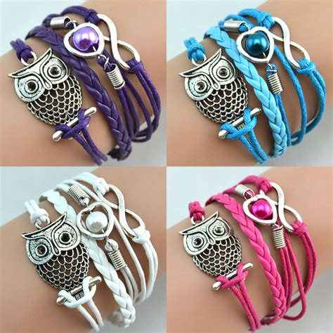 Gelang Color gelang vintage owl leather bracelet bangle