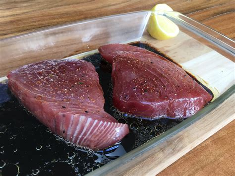 Steak Tuna yellowfin tuna steaks on the braai the fish