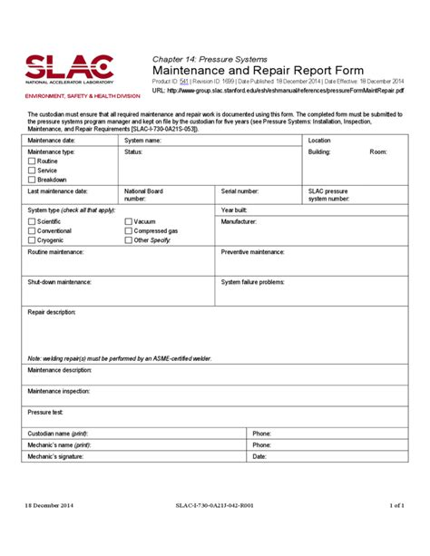 weekly maintenance report template maintenance report form stanford free