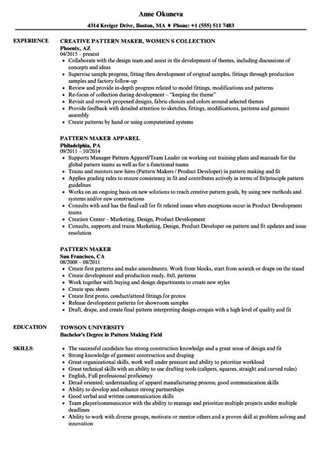 pattern maker govt job pattern maker resume sles velvet jobs