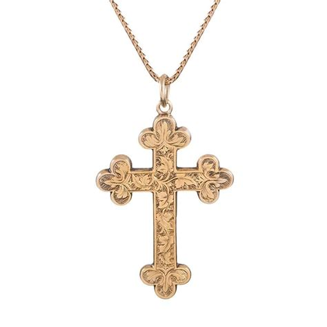 victorian gold engraved cross pendant at 1stdibs