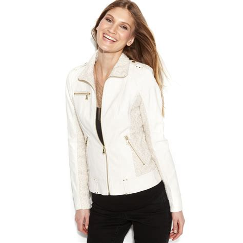 Vest Hoodie Marshmello 02 lyst guess faux leather mixed media jacket in white