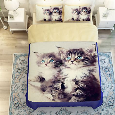 aliexpress com buy 3d oil twin size cat bed linen 3 4pc