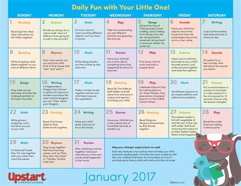 early literacy activity calendar january