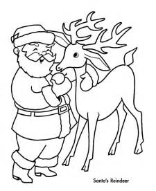 holiday santa reindeer coloring pages