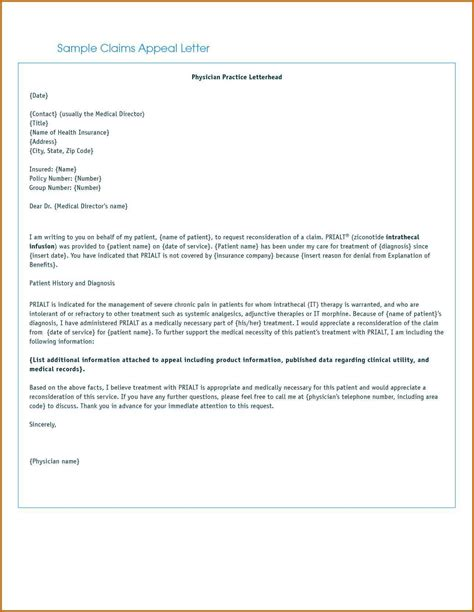 Insurance Appeal Letter No Authorization sle insurance appeal letter for no authorization and