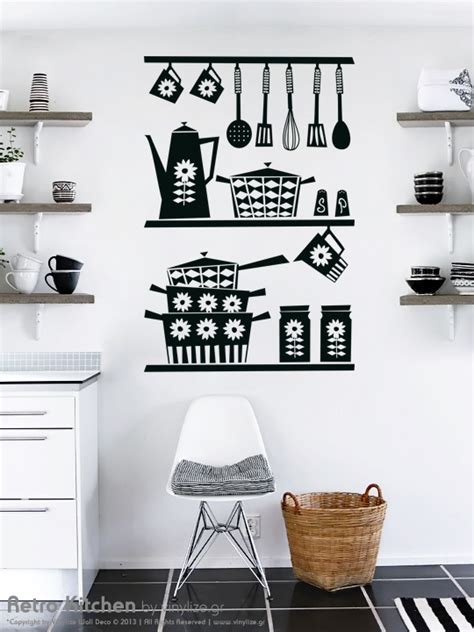 wall sticker for kitchen retro kitchen wall sticker by vinylize wall deco
