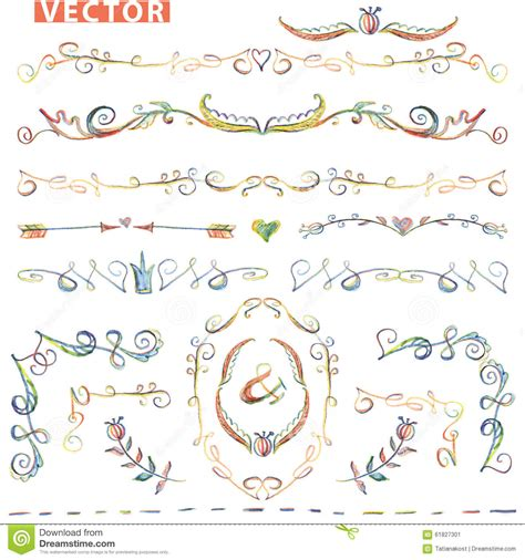 doodle sketch vector free doodle border corner decor set colored crayon stock vector