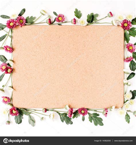 immagini cornice cornice con fiori e bianchi foto stock