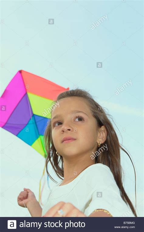 7 year old girl stock photo seven year old girl with kite winnipeg canada stock