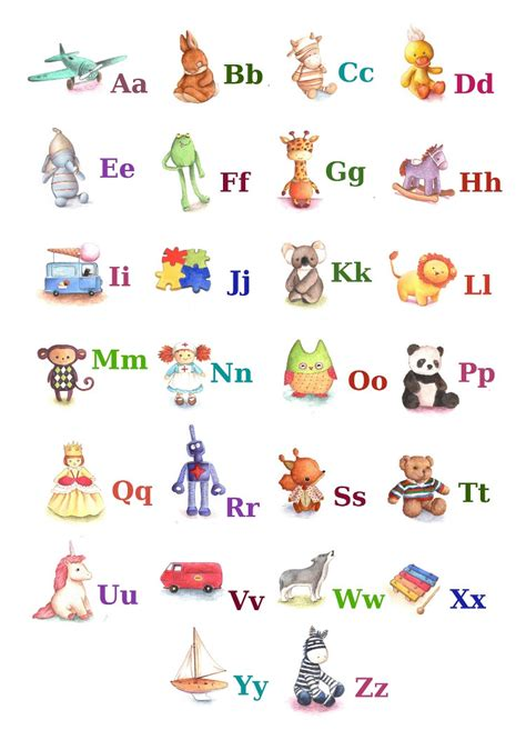 printable alphabet a4 size abc alphabet poster a4 print toy alphabet by tinyred on etsy
