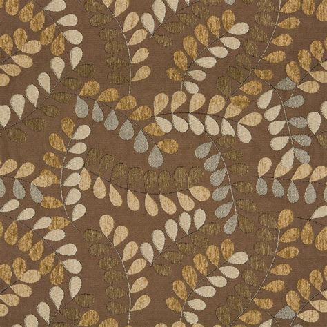 matelasse upholstery fabric brown and grey leaves and vines textured matelasse