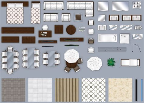 room layout photoshop 3d model 2d furniture floorplan top down view style 2 psd
