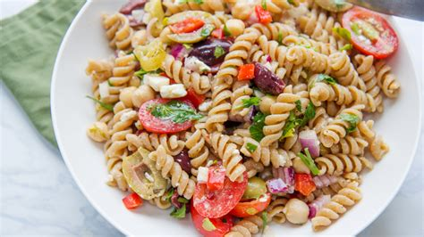 healthy spring recipe greek veggie pasta salad