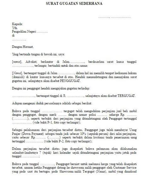contoh surat gugatan phi contoh format surat gugatan sederhana berbagai