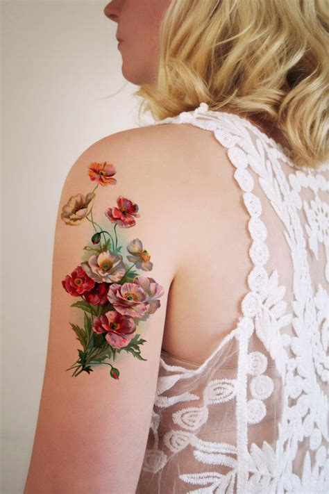 tattoo flower mural botanical tattoo decals vintage floral tattoo