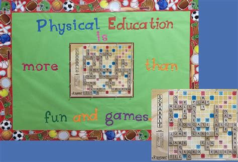 pe scrabble word pec bulletin boards for physical education