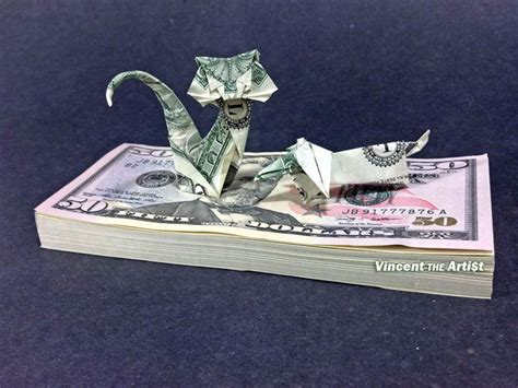 Money Origami Cat - beautiful money origami pieces many designs made of