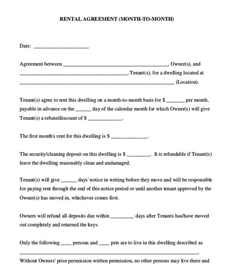 month to month rental agreement form rental agreement form 9 free sle exle format