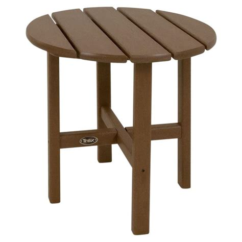 Composite Patio Table Trex Outdoor Furniture Cape Cod 18 In Tree House Patio Side Table Txrst18th The Home Depot
