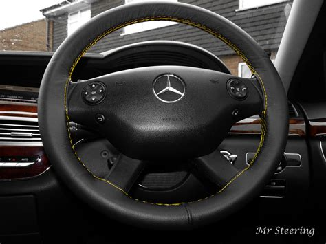 Mercedes Steering Wheel Covers by Mercedes Vito 2 Leather Steering Wheel Cover Yellow Stitch