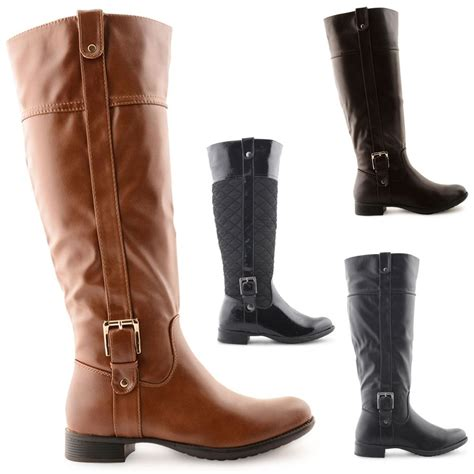 ladies long biker boots new womens ladies fashion under knee high lenght biker