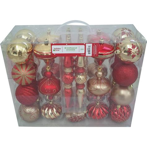 holiday time 40 count shatterproof christmas ornament set