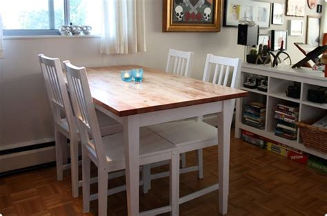 ikea hack dining table ikea table stain the top dark white wash the rest