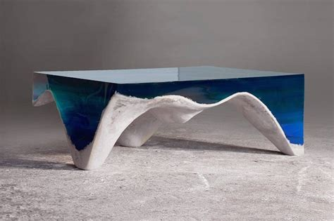 layered marble acrylic glass table showing the depth of