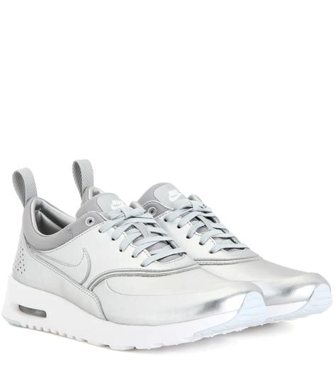 nike silver sneakers nike air max thea metallic silver sneakers in metallic lyst