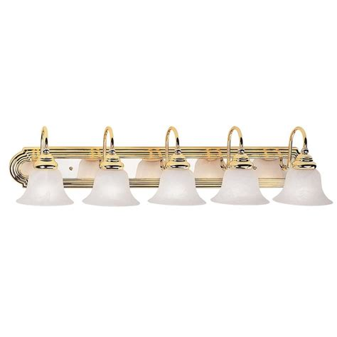 polished brass vanity lights bathroom shop livex lighting 5 light belmont polished brass