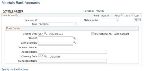 bank account information entering bank account information