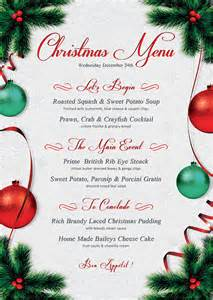 christmas menu template that s design store