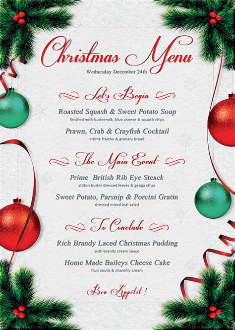 christmas eve menu template psd templates store