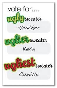 How To Write Thank You Cards For Baby Shower - printable ugly sweater voting ballots template