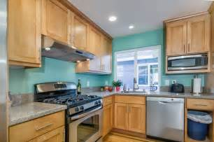 Kitchen Paint Colors With Light Oak Cabinets by Teal Kitchen In Duplex Traditional Kitchen San