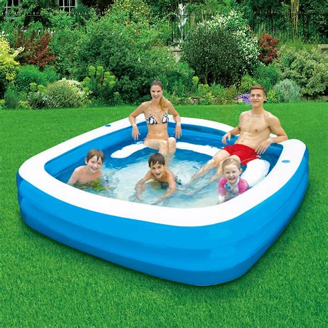 backyard blow up pools clearwater 90 quot x 22 quot square family pool with seats