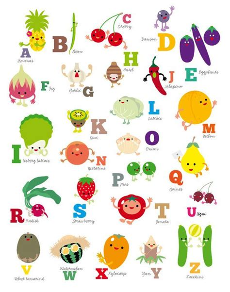 5 fruits that start with the letter p abc fruit and vegetables alphabet poster nursery by
