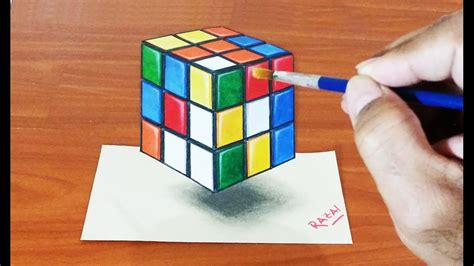 how to make 3d illusion l tuto 1 how to draw and paint rubiks cube 3d illusion