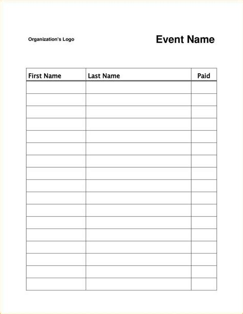 event or class workshop forms a sign up sheet template