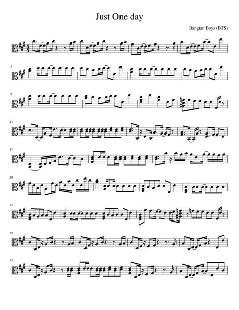 bts chords just one day bts viola musescore partituras